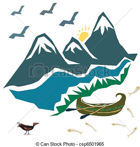 450x470 Vector Image Of A Landscape With Mountains, River And Boat Clipart