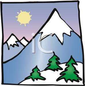 296x300 A Bright Sun Behind A Snow Capped Mountain Clip Art Image
