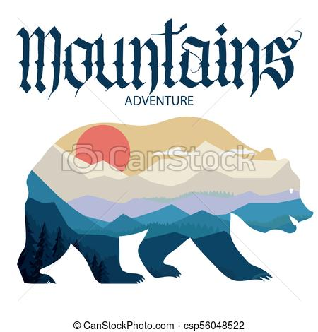 450x470 Bear And Nature Double Exposure, Mountain Landscape . Vector