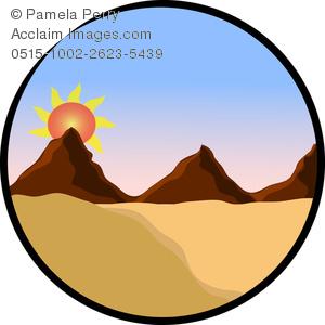 300x300 Clip Art Illustration Of A Sunrise In The Desert