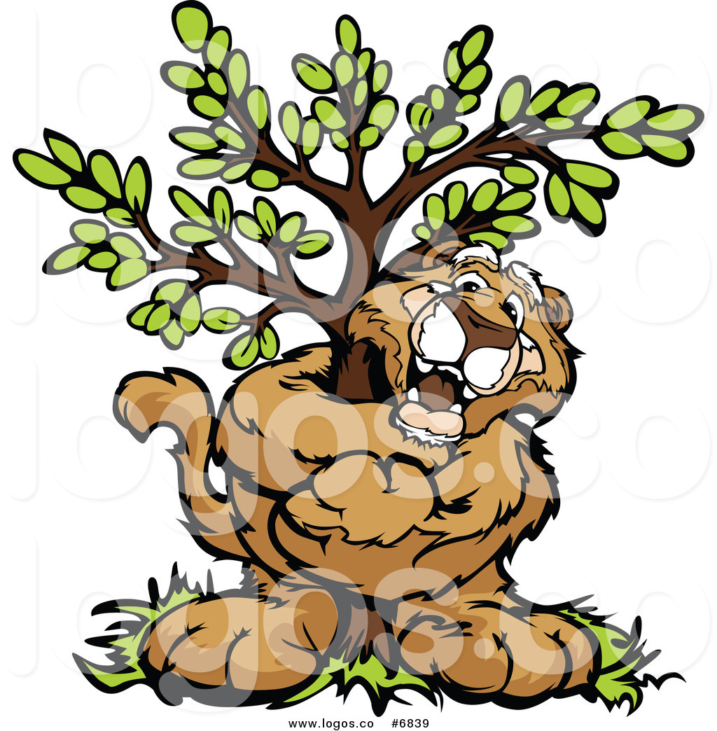 1024x1044 Royalty Free Clip Art Vector Logo Of A Cougar Hugging A Tree By