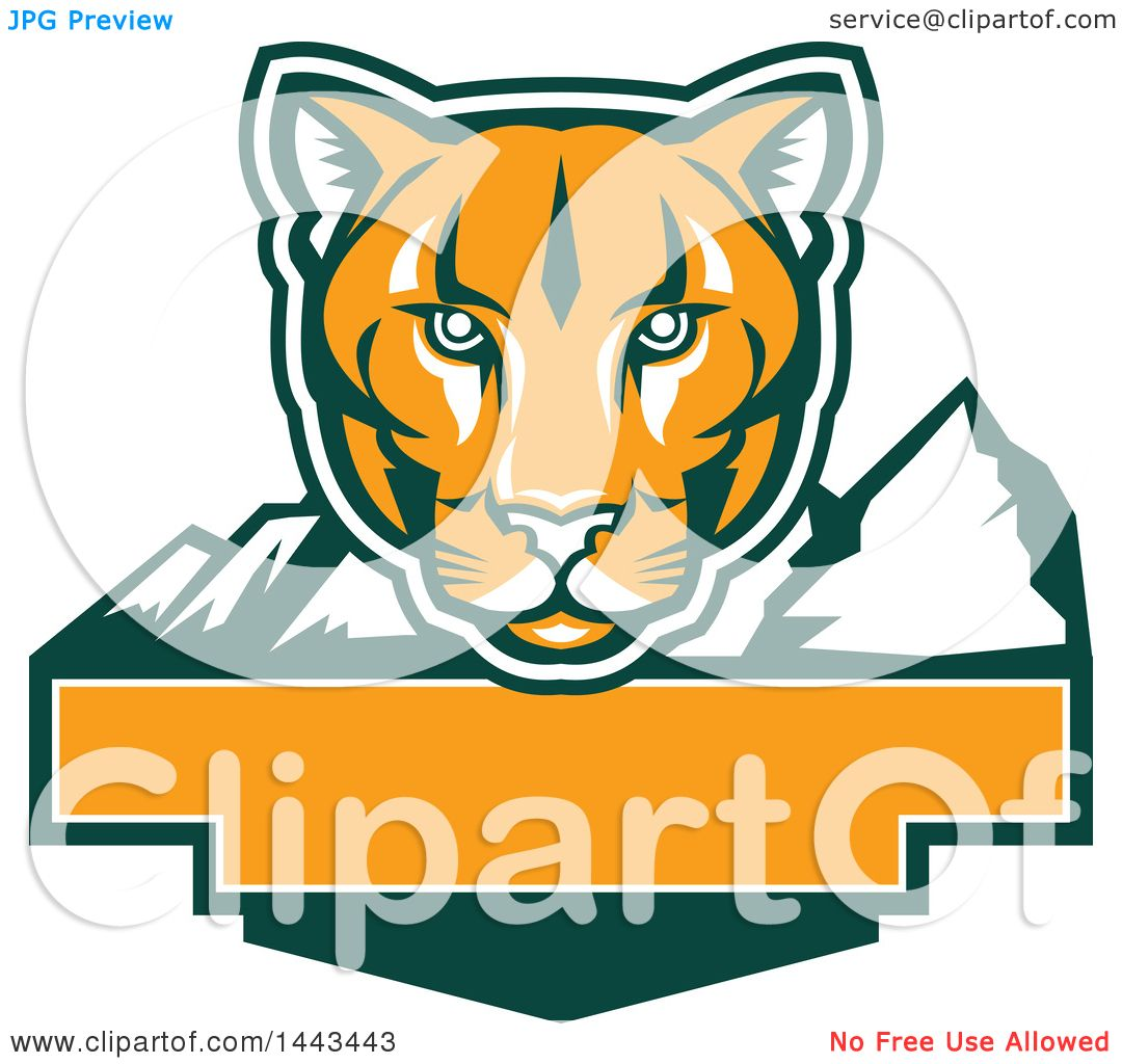 1080x1024 Clipart Of A Retro Green, Orange And White Puma Cougar Mountain