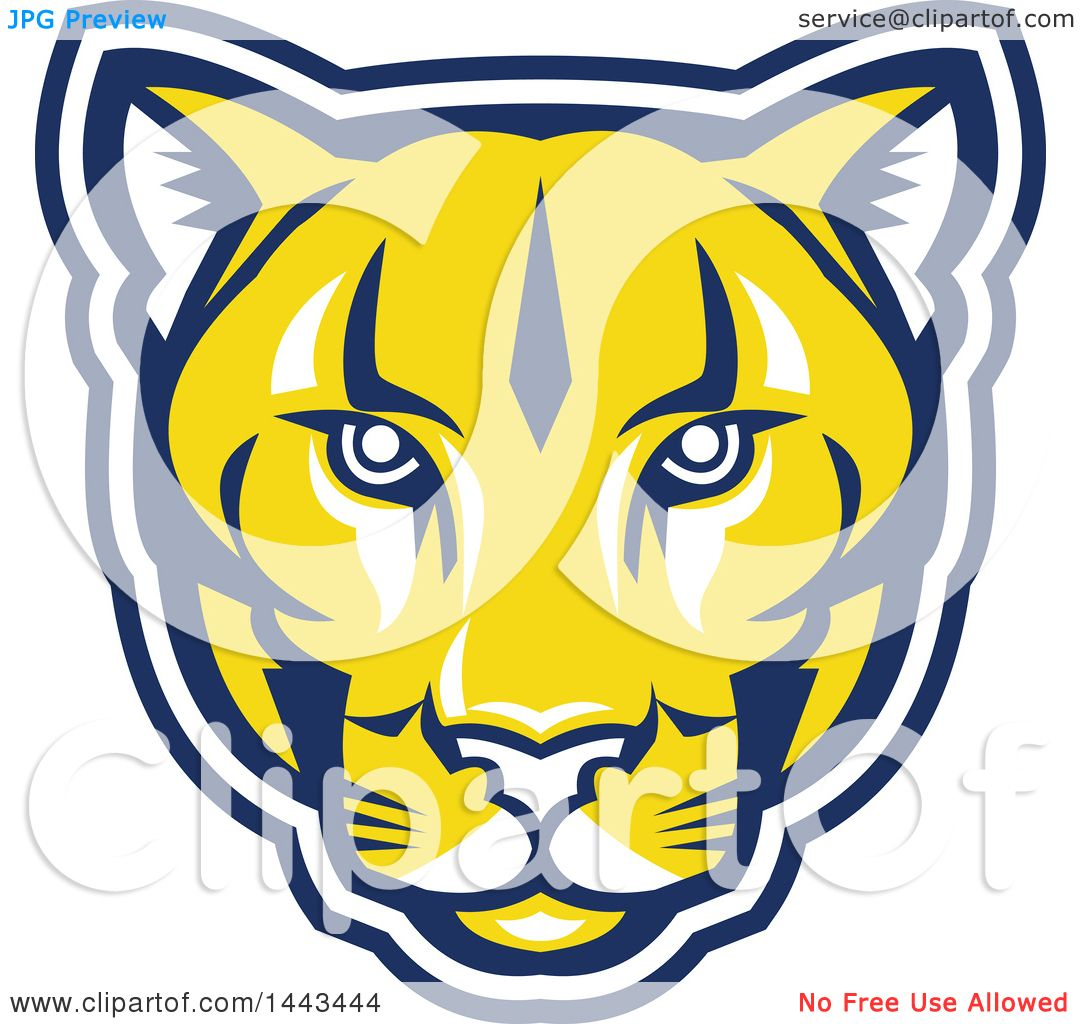 1080x1024 Clipart Of A Retro Yellow Blue And White Puma Cougar Mountain Lion