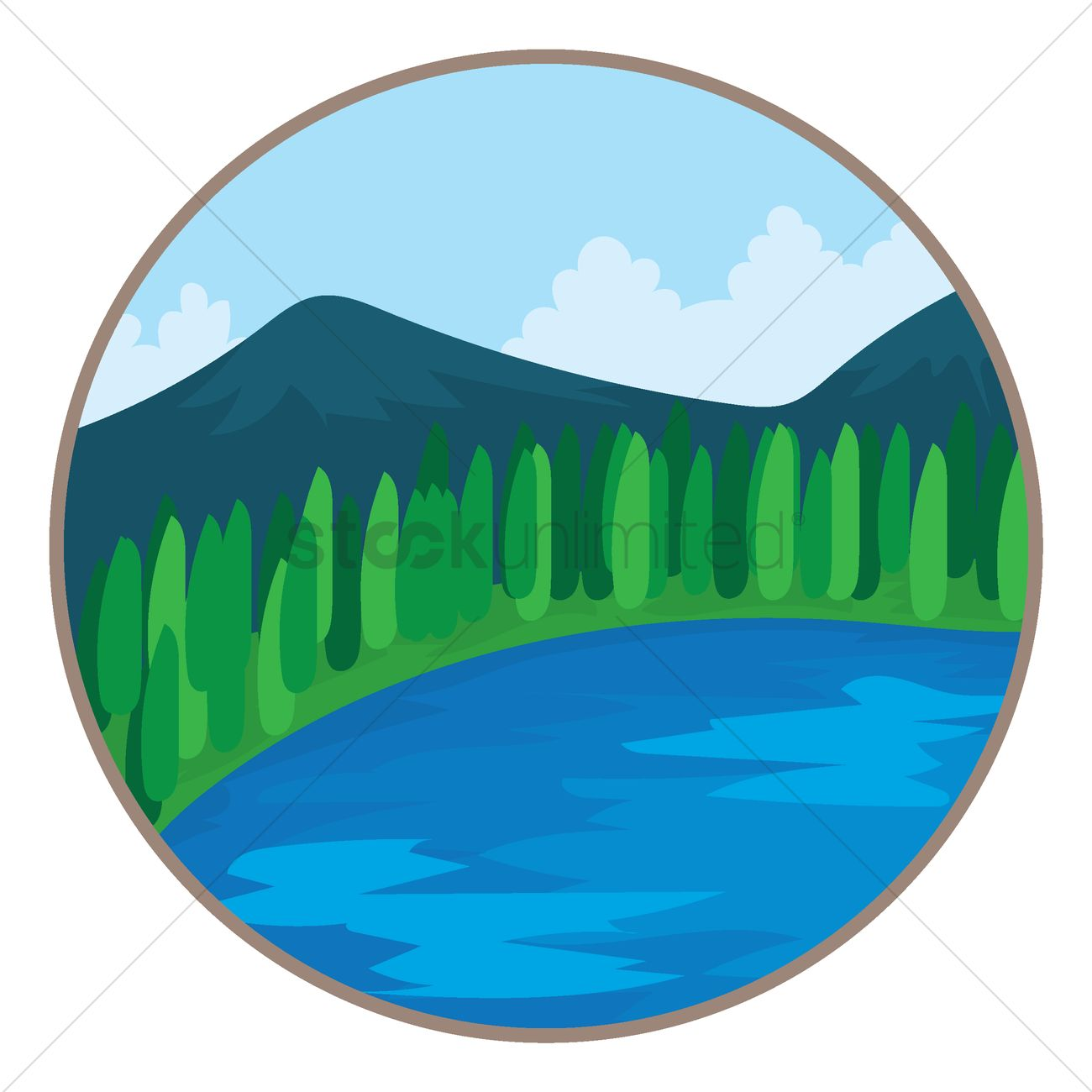 1300x1300 Scenic View Of Mountains And Waters Vector Image