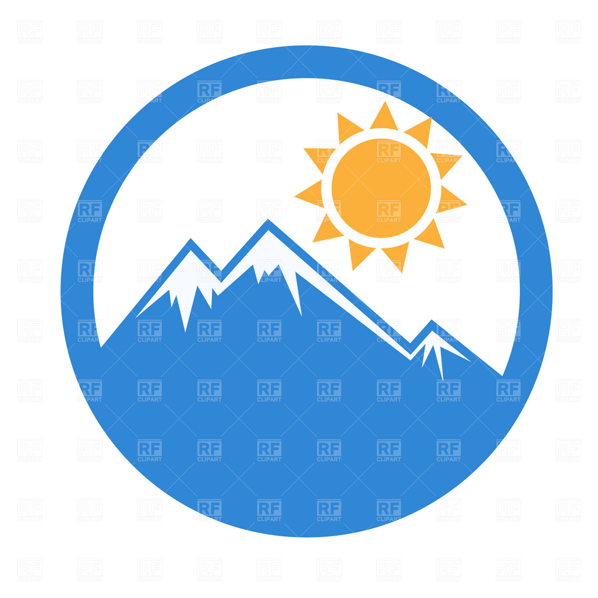 1200x1200 Snow capped mountain peak Royalty Free Vector Clip Art Image