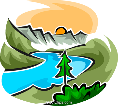 480x433 Beautiful Scene With A River Royalty Free Vector Clip Art