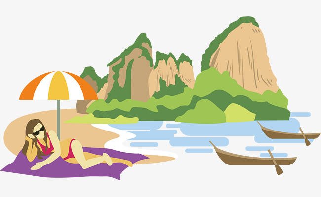 650x400 Beach Landscape Vector, Mountains And Rivers, A Small Umbrella