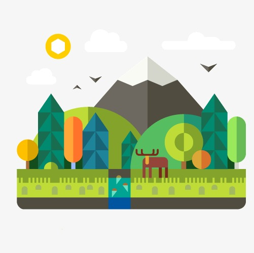 501x500 Beautiful Scenery, Cattle, Trees, Mountain PNG Image and Clipart