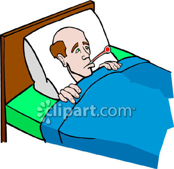350x340 Man In Bed With A Thermometer In His Mouth