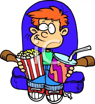 319x350 Royalty Free Clipart Image Boy Enjoying Popcorn While Watching