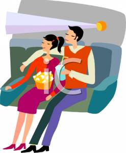 247x300 Clip Art Image A Couple Sitting In A Movie Theater On A Date