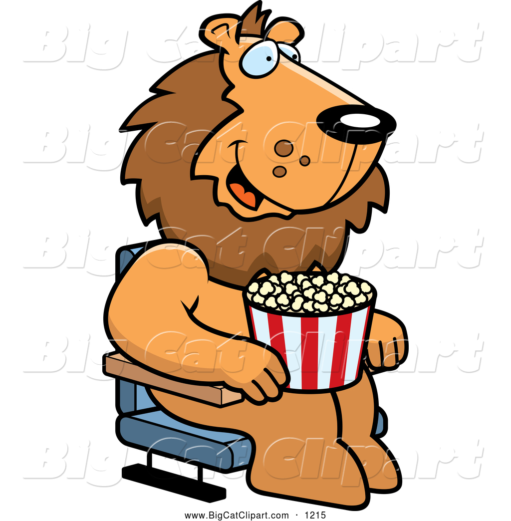 1024x1044 Big Cat Cartoon Vector Clipart Of A Lion With Popcorn