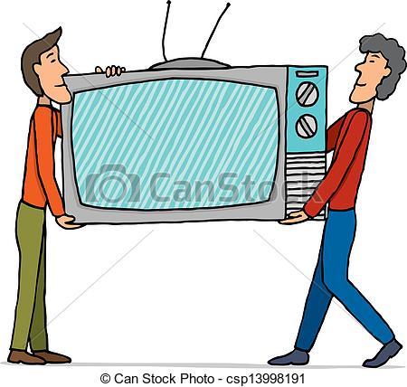 450x428 Teamwork Moving Huge Tv Set Eps Vectors