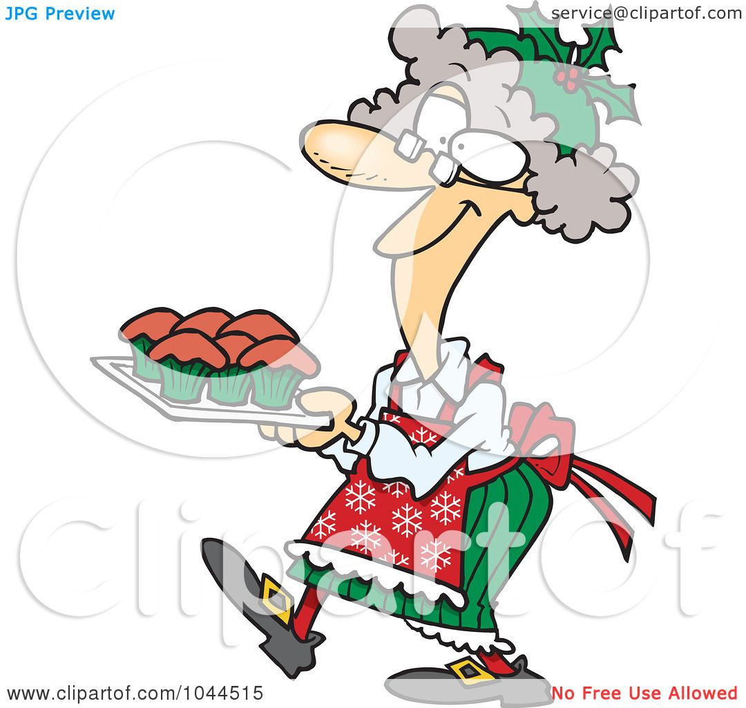 1080x1024 Royalty Free (Rf) Clip Art Illustration Of A Cartoon Mrs Claus