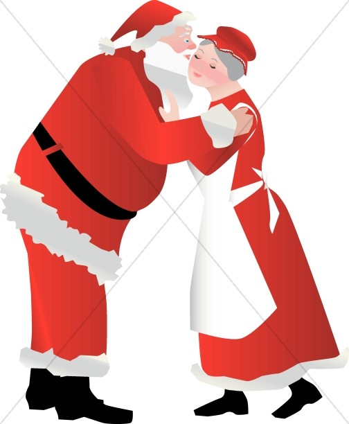 504x612 Santa Kissing Mrs. Claus Religious Christmas Clipart