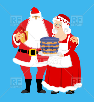 368x400 Santa And Mrs. Claus With Gifts And Bilberry Cake, Christmas