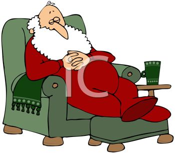 350x307 Clip Art Graphic Of Santa Napping In A Chair While Mrs Claus