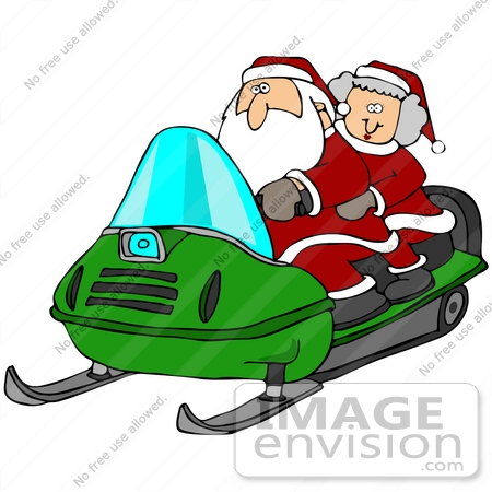450x450 Clip Art Graphic Of Santa And Mrs Claus Having Fun On A Green