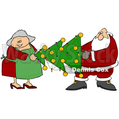 400x400 Clipart Illustration Of Mrs Claus Helping Santa Carry A Decorated
