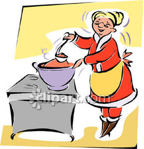 290x300 Clipart Image Of Mrs. Claus Cooking