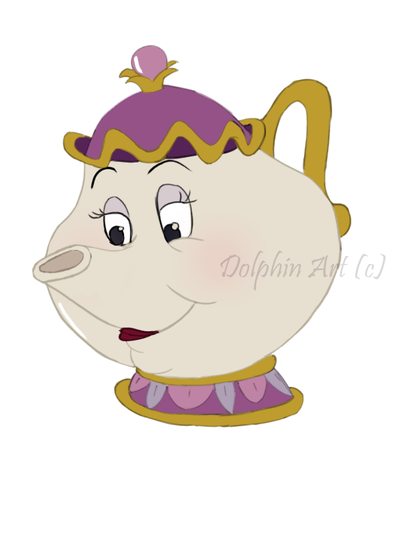 400x533 Mrs. Potts Colored By Dolphindisneyonly