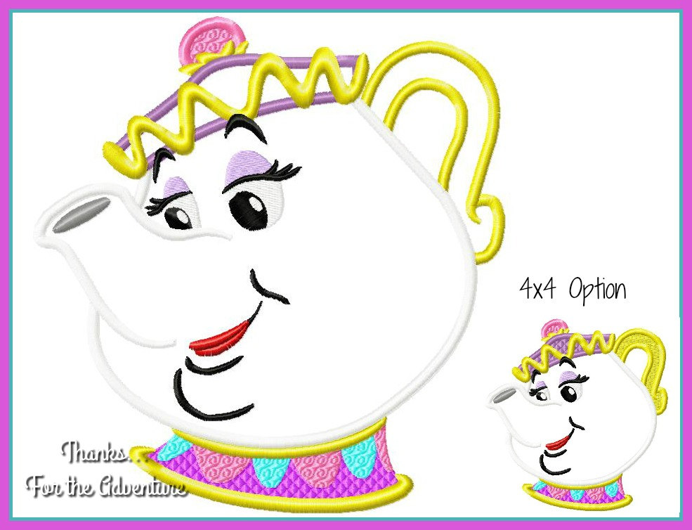 985x754 Mrs. Potts The Tea Pot From Beauty And The Beast Applique