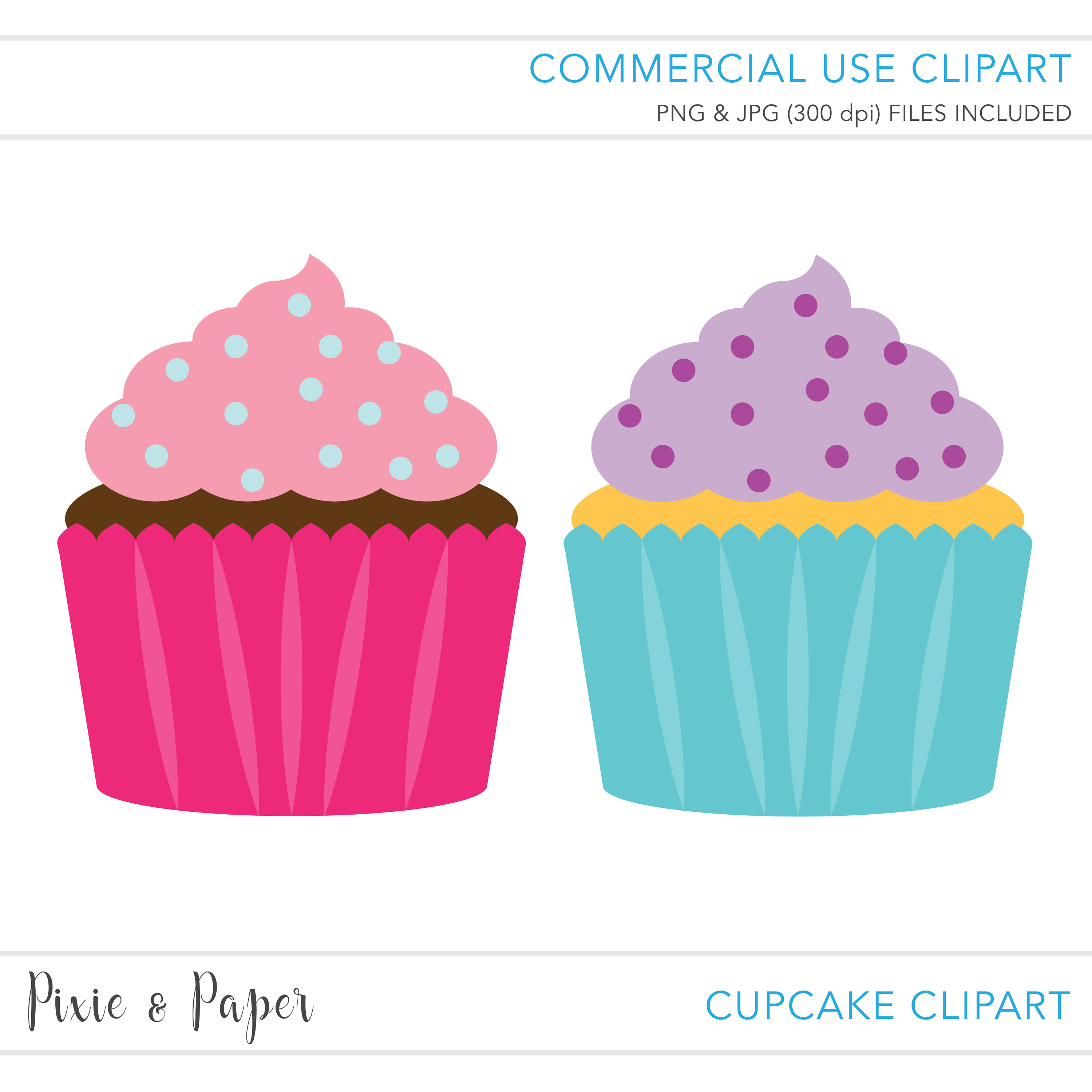 3000x3000 Commercial Use Clipart, Commercial Use Clip Art, Cupcake Clipart