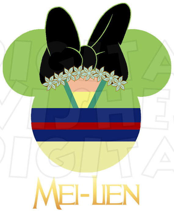 570x702 Mulan Minnie Mouse Ears Head Digital Iron On Transfer Clip Art
