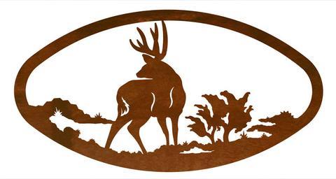 480x256 Mule Deer Design Horizontal Oval Metal Wall Art Inspired By