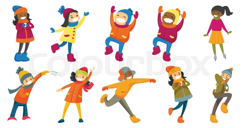 800x419 Multicultural Children And Adults Set. People Playing Snowball