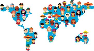364x199 Vector Illustration Multicultural National Children On Map Earth