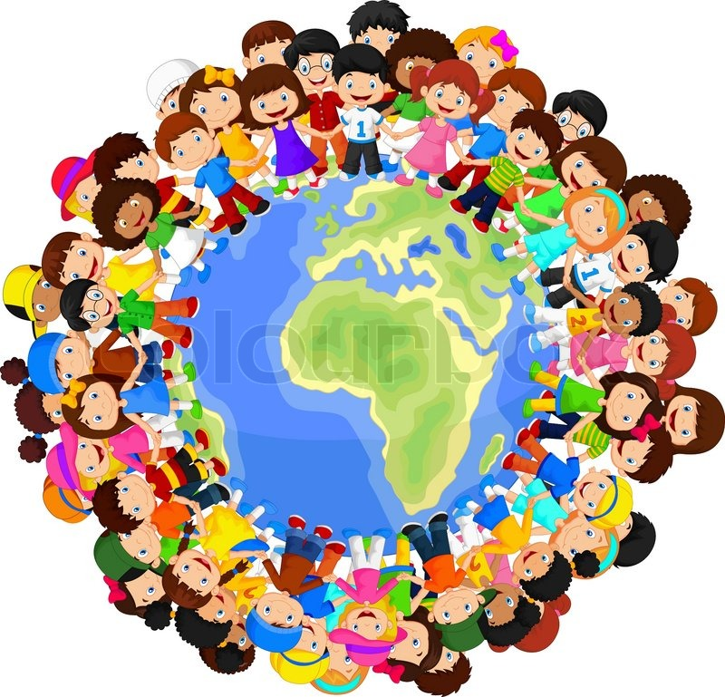 800x769 Vector Illustration Of Multicultural Children Cartoon On Planet