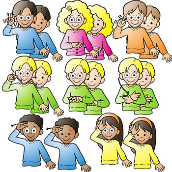 350x350 Asl American Sign Language Kids Signing Family Words Clipart Clip Art