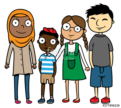 500x449 Cartoon Vector Illustration Of Happy Multicultural Multiracial
