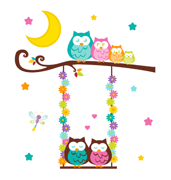 570x600 Owl Tree Branch Swing Wall Art Mural Decals Woodland Nursery [174