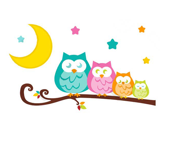 600x500 Owl Tree Wall Decal Branch Mural Woodland Forest Animal Stickers
