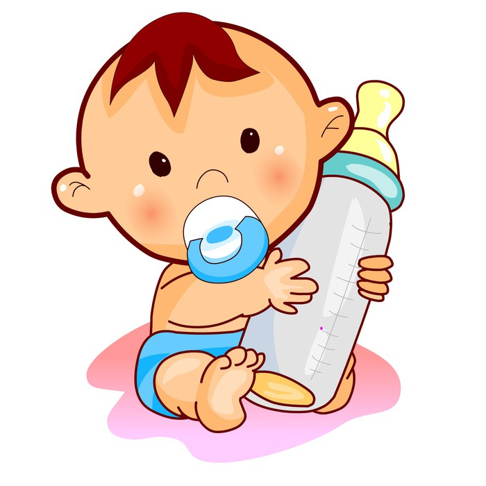 700x700 Lovely Baby With Milk. Vector. Wall Mural We Live