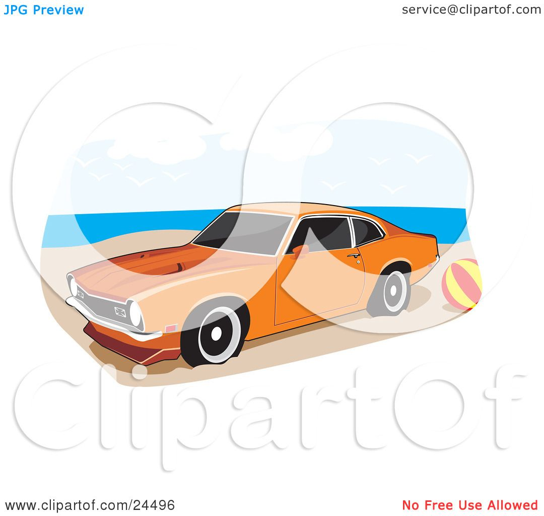 1080x1024 Clipart Illustration Of An Orange 1972 Ford Maverick Muscle Car
