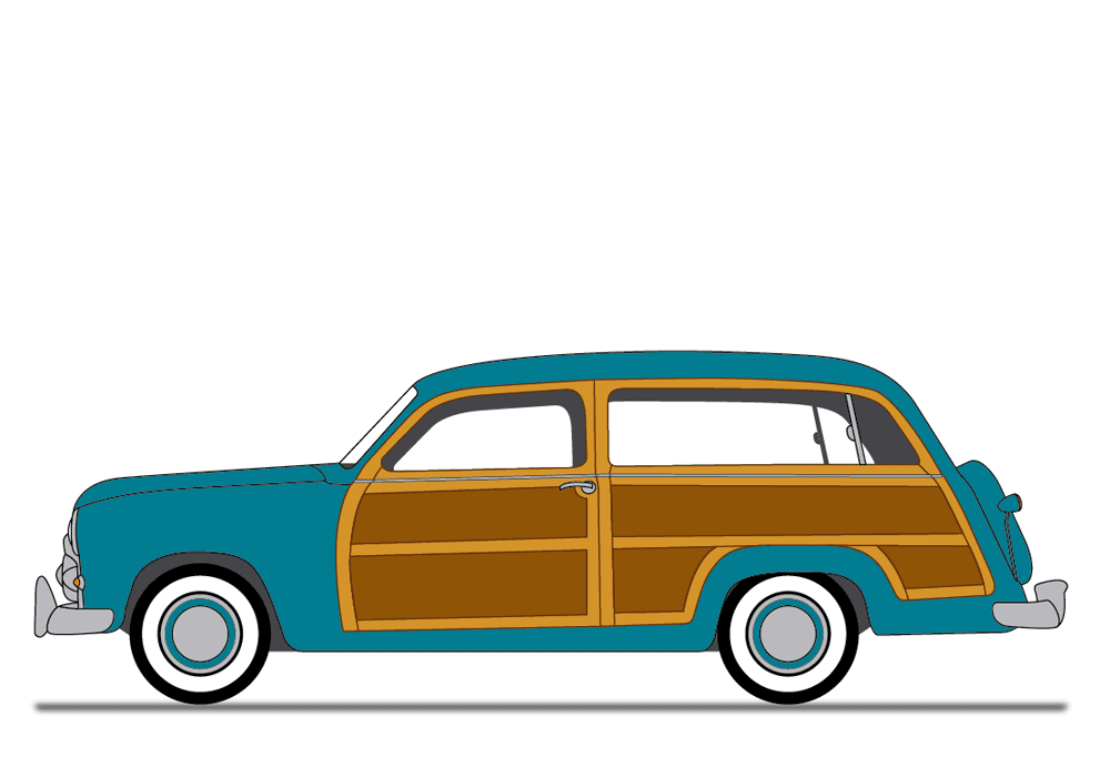 1000x700 1950 Car Clipart