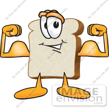 450x450 Clip Art Graphic Of A White Bread Slice Mascot Character Flexing