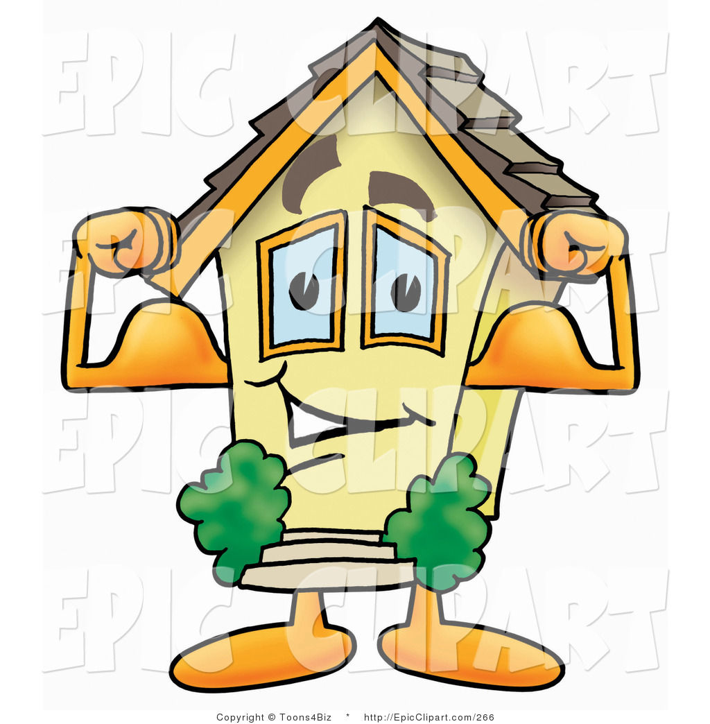 1024x1044 Clip Art Of A Strong House Mascot Cartoon Character Flexing His