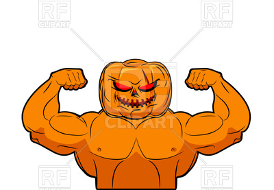 400x277 Powerful Pumpkin. Fruit Bodybuilding With Muscles. Royalty Free
