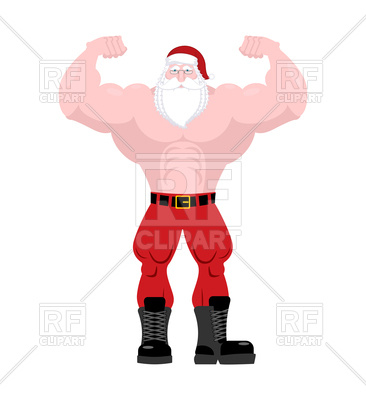 366x400 Powerful Old Man With Big Muscles In Christmas Hat Royalty Free