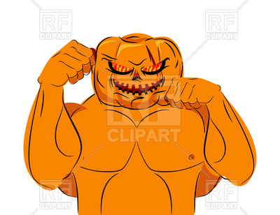 400x308 Strong Pumpkin Fighter Ready For Battle. Halloween. Royalty Free