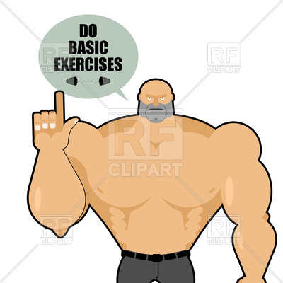 400x400 Big Strong Man Raised His Finger Up Royalty Free Vector Clip Art