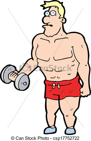 303x470 Cartoon Man Lifting Weights Vector Illustration