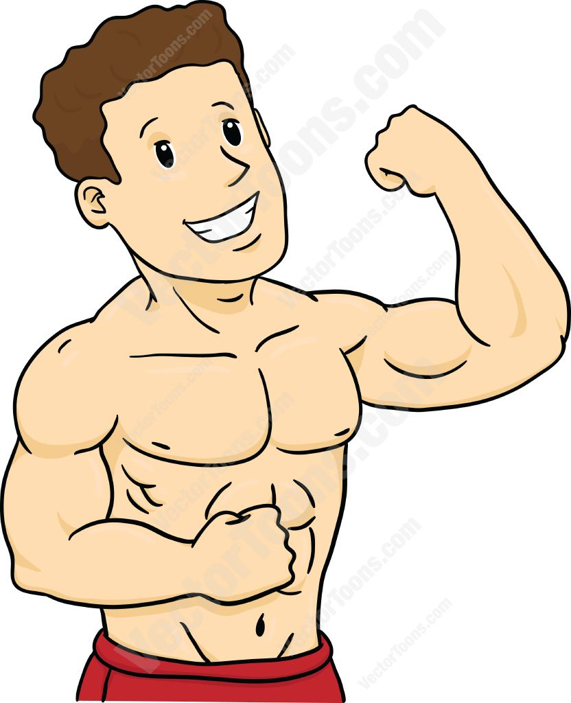 832x1024 Fit Young Man Showing Off His Arm Muscles Cartoon Clipart Vector