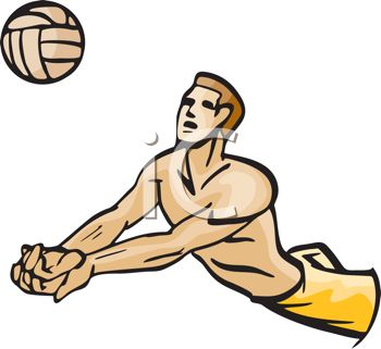 350x321 Picture Of A Man Diving To Hit A Volleyball In A Vector Clip Art