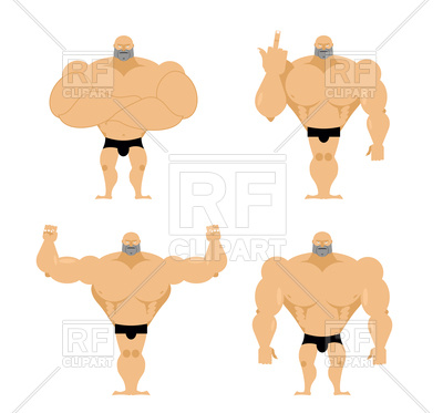 400x373 Set Of Cartoon Strong Men Royalty Free Vector Clip Art Image