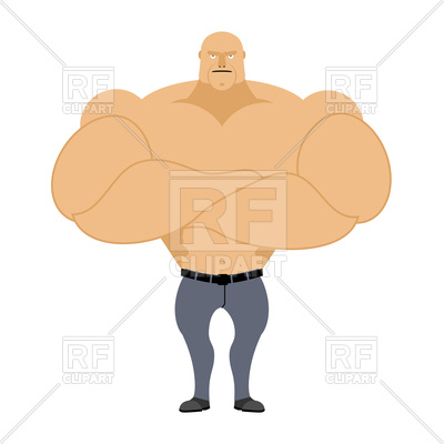 400x400 Strong Man, Muscleman On White Background, Bodybuilder With Big